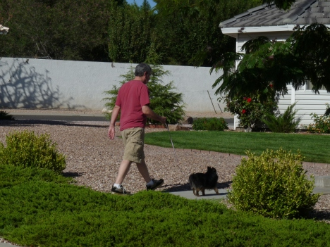 Going for a walk with Dad.