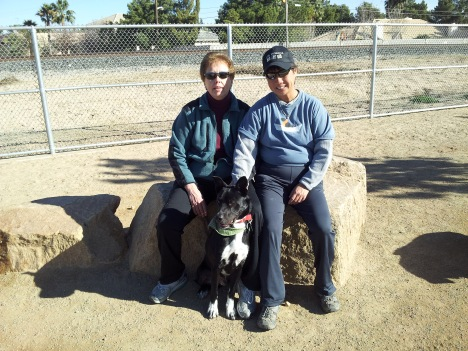 Socks with his new forever family.  A perfect match!