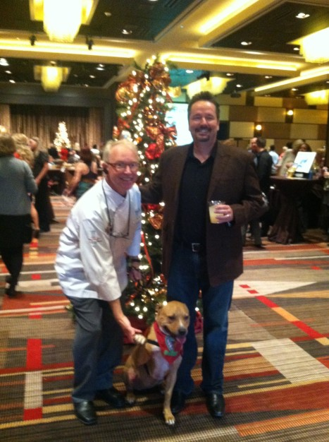 Chef Heinz Lauer shares a moment with impressionist Terry Fator at the HCWS Holiday Luncheon.